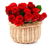 21 red roses in a basket: Flowers arrangements
