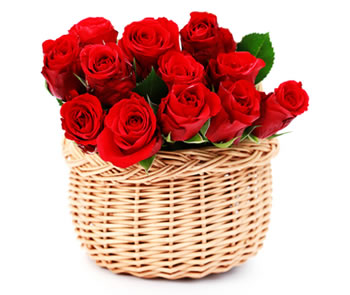 21 red roses in a basket
